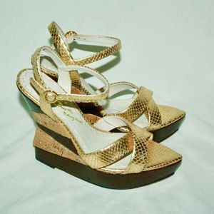 Laura Embossed Wedge Sandals